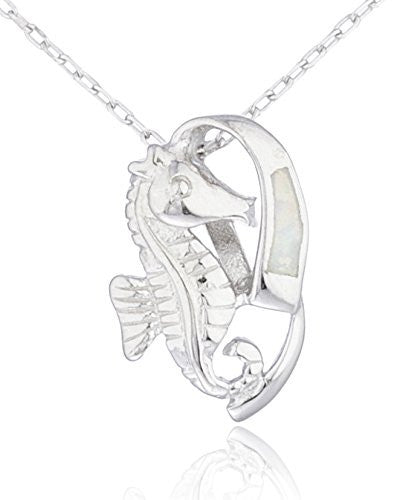 Real 925 Sterling Silver Created Opal Seahorse Necklace (White)