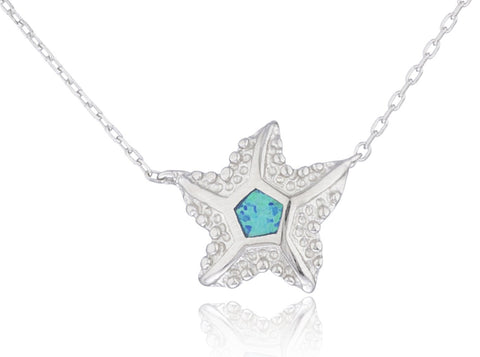 Real 925 Sterling Silver Created Opal Starfish Pendant With An 18 Inch Link Necklace (Blue)