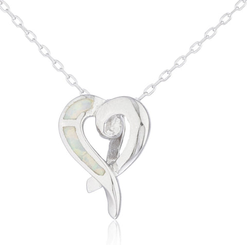 Real 925 Sterling Silver Created Opal Swirl Heart Necklace (White)
