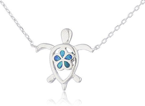 Real 925 Sterling Silver Created Opal Turtle Necklace With Flower Design (Blue)