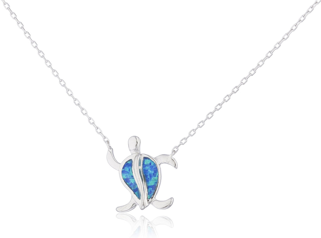 Real 925 Sterling Silver Created Opal Turtle With Design Necklace (Blue)