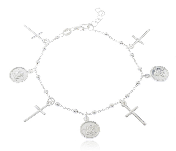 Real 925 Sterling Silver Cross And Angel Charm Bracelet
