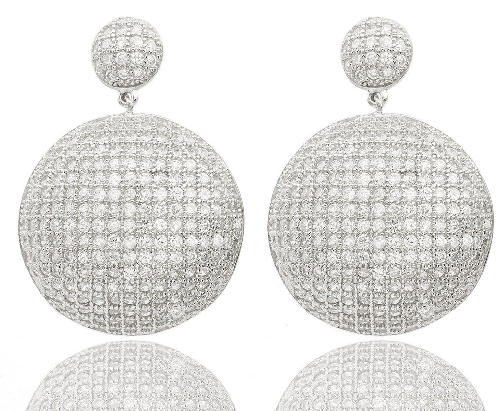 Real 925 Sterling Silver Cubic Zirconia Circle Shaped Earrings