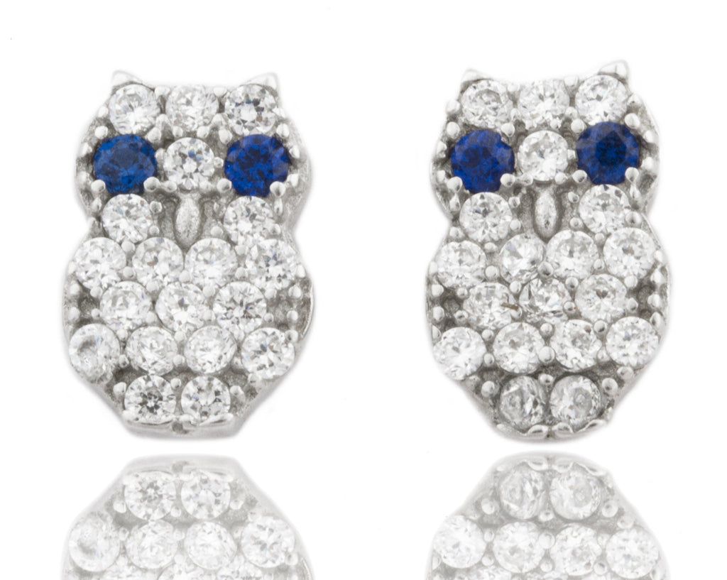 Real 925 Sterling Silver Cubic Zirconia Clear With Blue Stones Owl Earrings