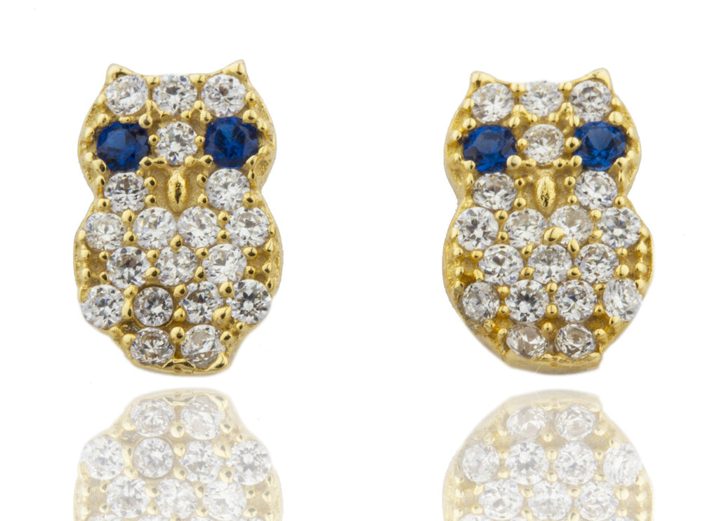 Real 925 Sterling Silver Cubic Zirconia Gold With Clear And Blue Stones Owl Earrings