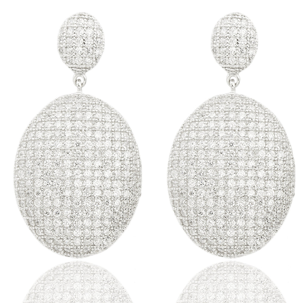 Real 925 Sterling Silver Cubic Zirconia Oval Shaped Earrings