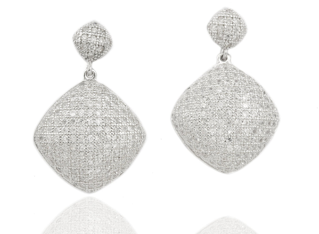 Real 925 Sterling Silver Cubic Zirconia Square Shaped Earrings