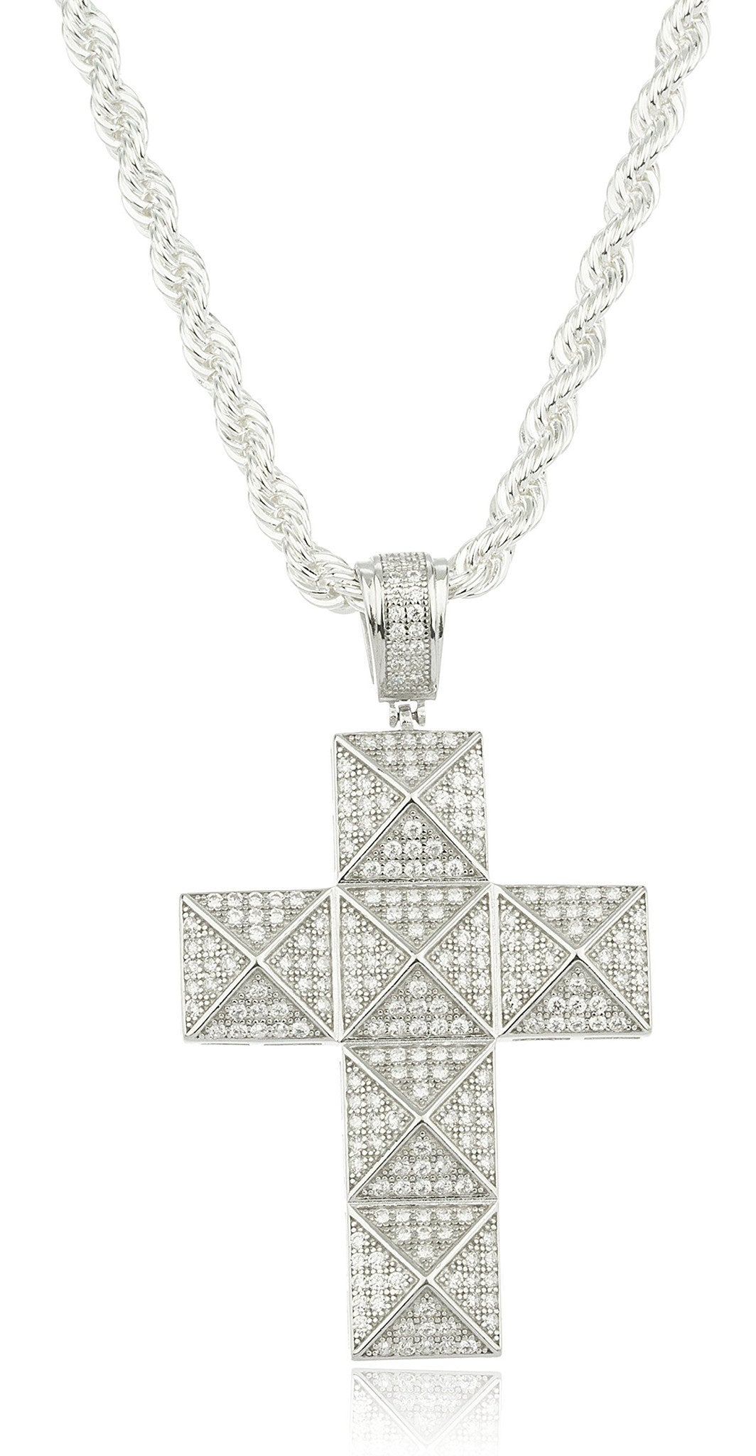 Silver cubic zirconia stone symmetrical cross pendant with a 24 inch b real 925 sterling silver cubic zirconia stone symmetrical cross pendant with a 24 inch brass rope aloadofball Image collections