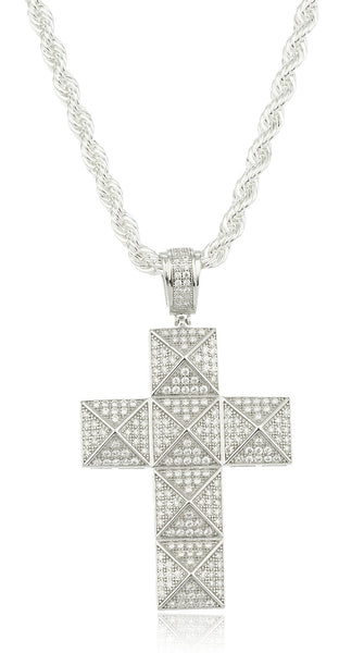 Real 925 Sterling Silver Cubic Zirconia Stone Symmetrical Cross Pendant With A 24 Inch Brass Rope Chain Necklace