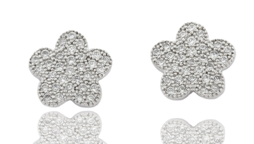 Real 925 Sterling Silver Cubic Zirconia Stones Star Earrings