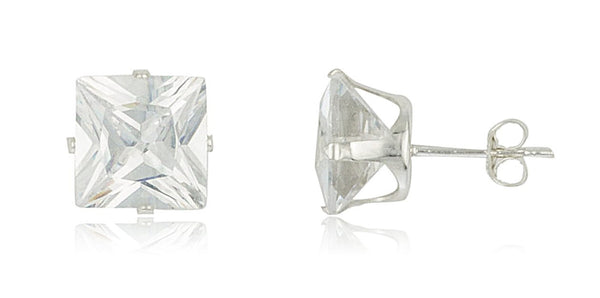 Real 925 Sterling Silver Cubic Zirconium Square Four Prong Stud Earrings (9 Millimeters)
