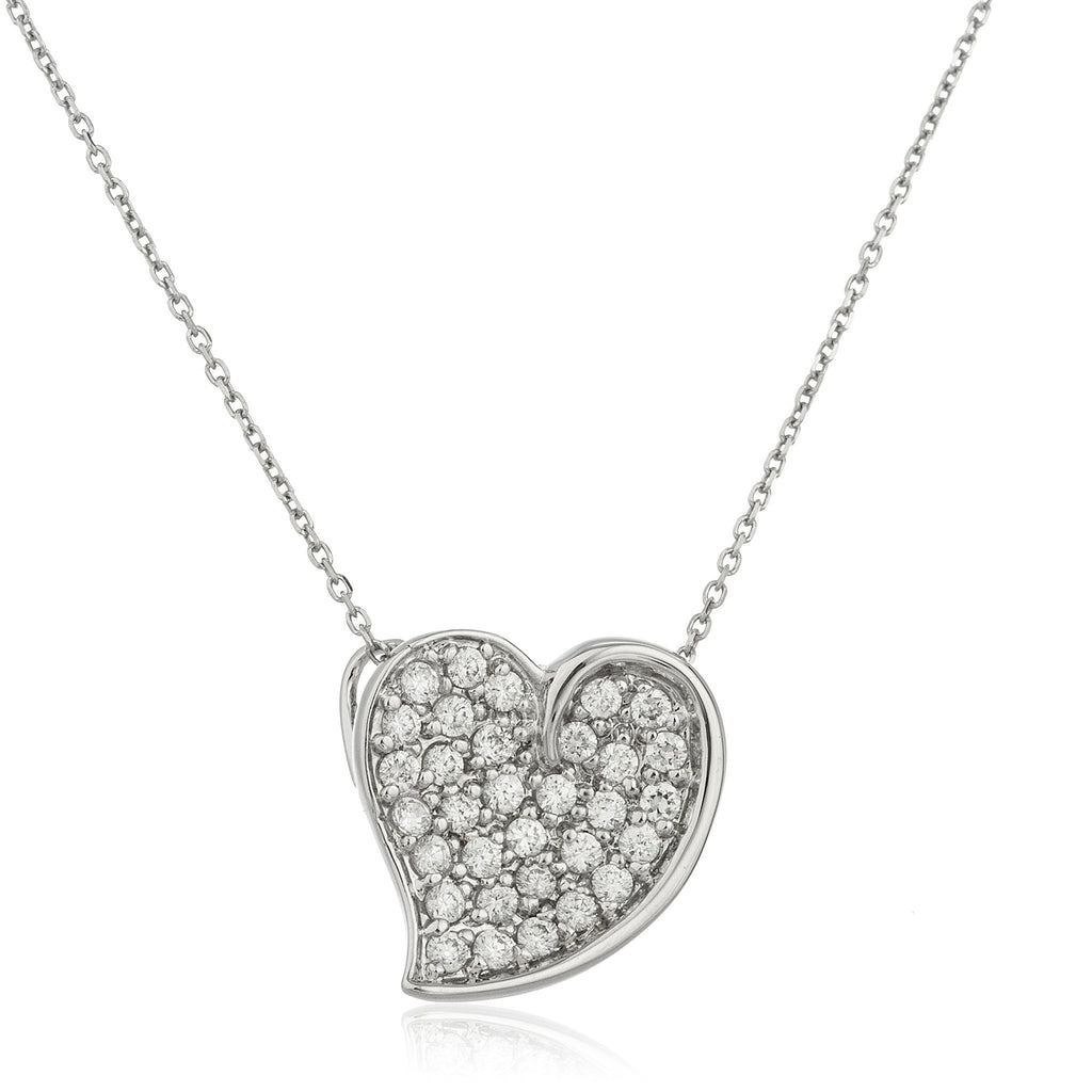 Real 925 Sterling Silver Curved Slanted Heart Pendant With Cz Stones And An 18 Inch Link Necklace