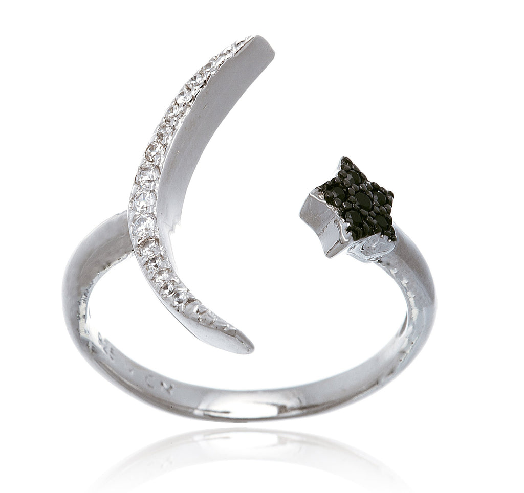 Real 925 Sterling Silver Cz Half Moon With Star Finger Ring (7)
