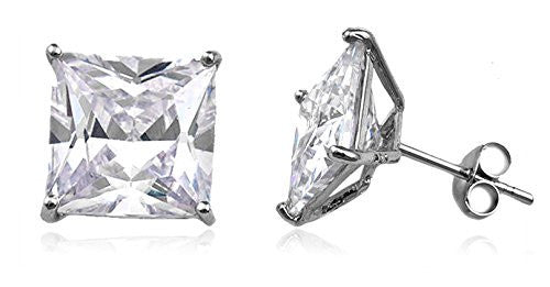 Real 925 Sterling Silver Cz Square Basket Setting Stud Earrings (rhodium-plated-silver, 10 Millimeters)