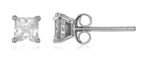 Real 925 Sterling Silver Cz Square Basket Setting Stud Earrings (rhodium-plated-silver, 5 Millimeters)