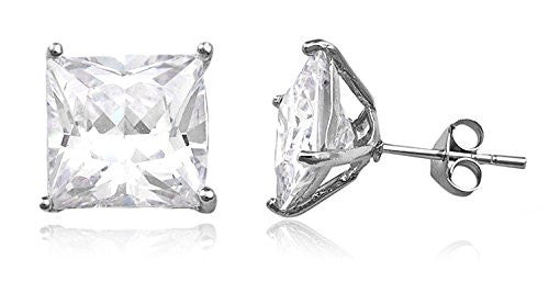 Real 925 Sterling Silver Cz Square Basket Setting Stud Earrings (rhodium-plated-silver, 9 Millimeters)