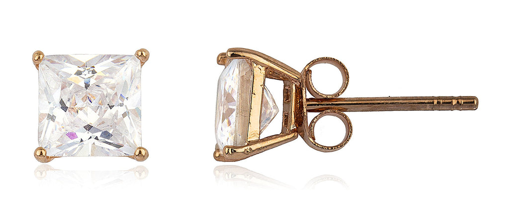 Real 925 Sterling Silver Cz Square Basket Setting Stud Earrings (rose-gold-and-sterling-silver, 7 Millimeters)
