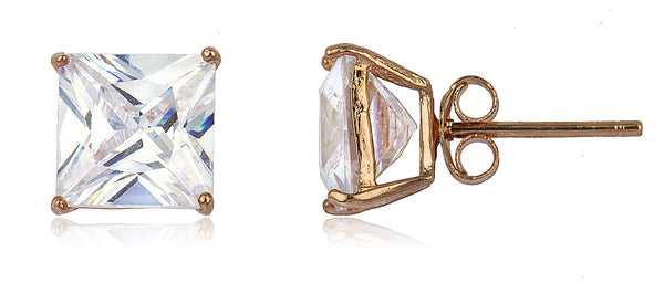 Real 925 Sterling Silver Cz Square Basket Setting Stud Earrings (rose-gold-and-sterling-silver, 8 Millimeters)