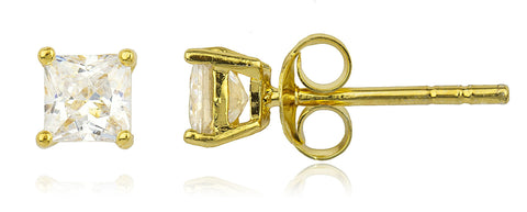 Real 925 Sterling Silver Cz Square Basket Setting Stud Earrings (yellow-gold-plated-silver, 5 Millimeters)