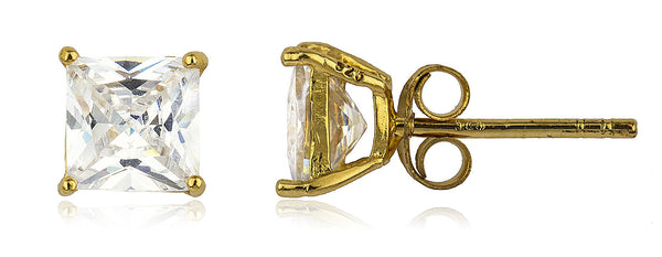 Real 925 Sterling Silver Cz Square Basket Setting Stud Earrings (yellow-gold-plated-silver, 6 Millimeters)