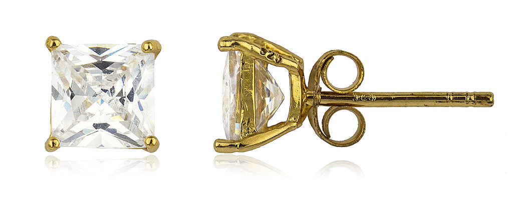 Real 925 Sterling Silver Cz Square Basket Setting Stud Earrings (yellow-gold-plated-silver, 7 Millimeters)