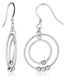Real 925 Sterling Silver Dangle Double Circle Disco Beaded Earrings
