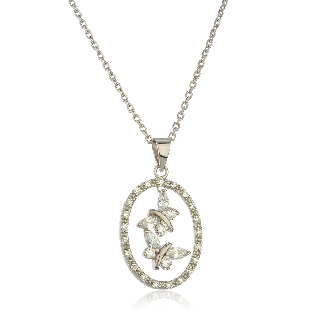 Real 925 Sterling Silver Dangling Butterfly Oval Pendant With Cubic Zirconia Stones And An 18 Inch Link Necklace