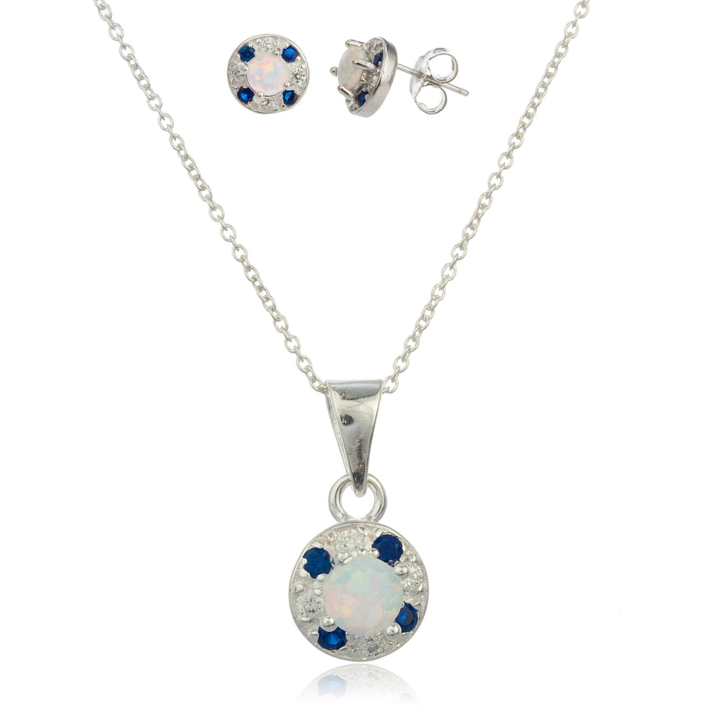Real 925 Sterling Silver Dark Blue And Clear Created Opal Stone Pendant With An 18 Inch Necklace And Matching Earrings Jewelry Set