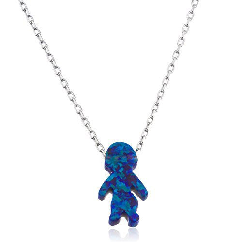 Real 925 Sterling Silver Dark Blue Created Opal Boy Pendant With An 18 Inch Link Necklace