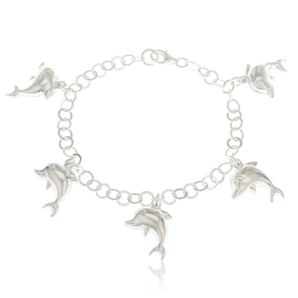 Real 925 Sterling Silver Dolphin Charmed 7 Inch Bracelet