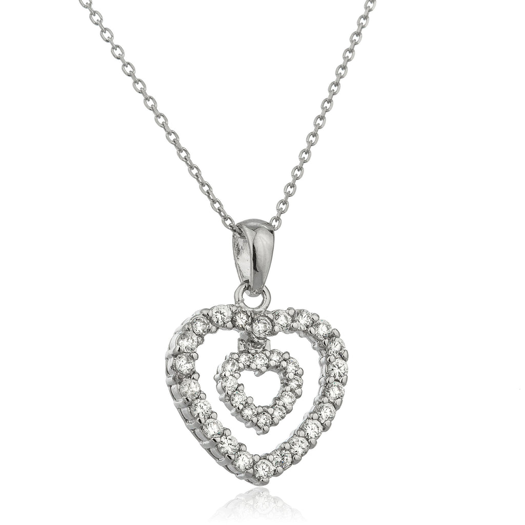 Real 925 Sterling Silver Double Heart Pendant With Cubic Zirconia And An 18 Inch Link Necklace