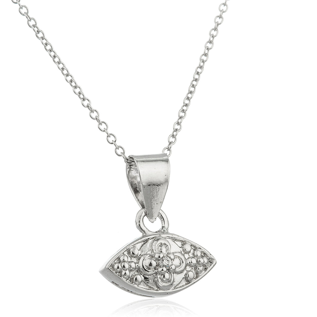 Real 925 Sterling Silver Evil Eye Centered Flower And Cz Stone Pendant With An 18 Inch Link Necklace