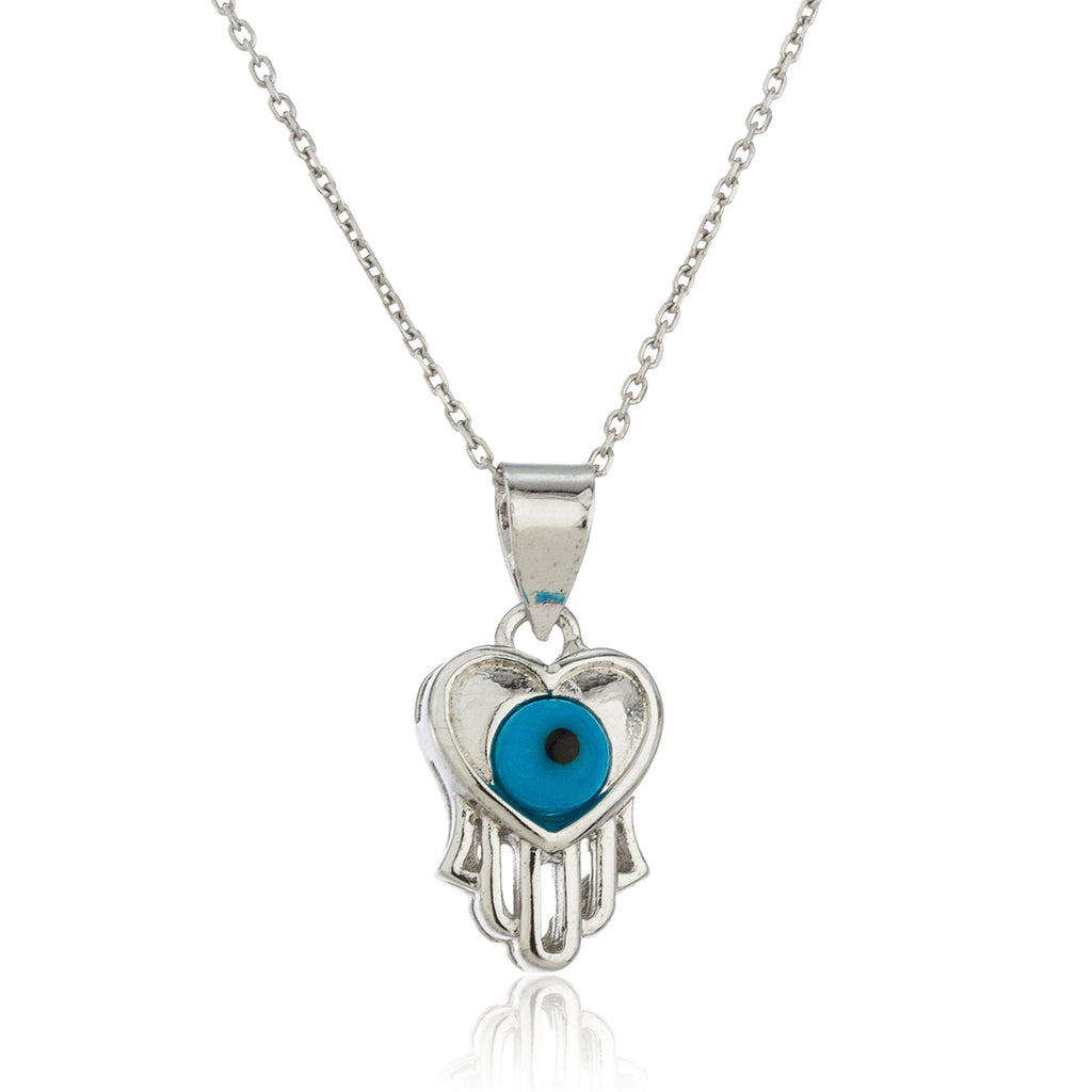 Real 925 Sterling Silver Evil Eye, Heart And Hamsa Hand Pendant With An 18 Inch Link Necklace