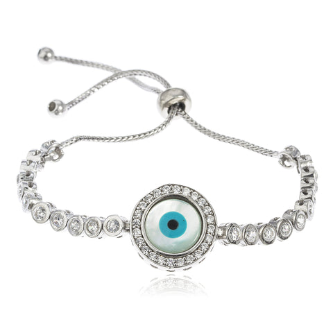 Real 925 Sterling Silver Eye Bezel Cubic Zirconia Adjustable 4-8 Inch Bracelet