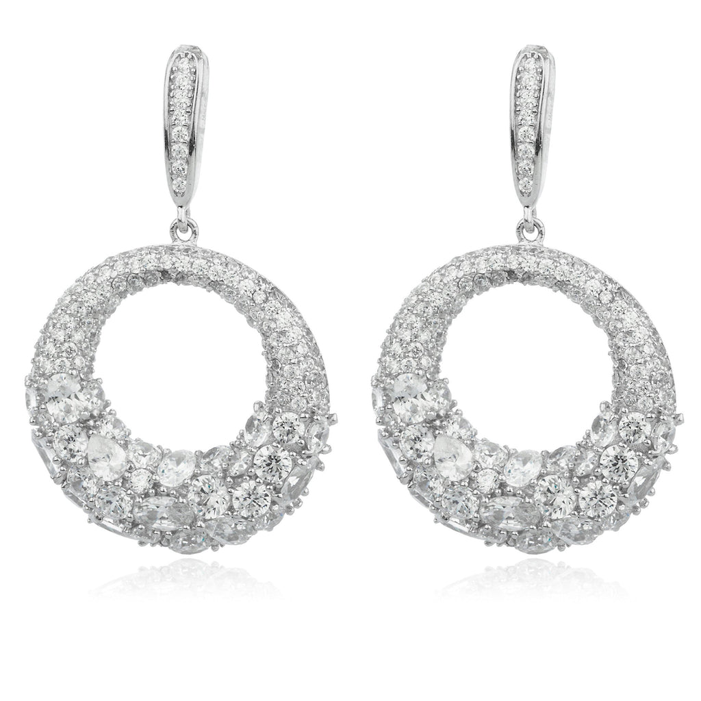 Real 925 Sterling Silver Fancy Iced Out Round Cubic Zirconia Dangle Stud Earrings
