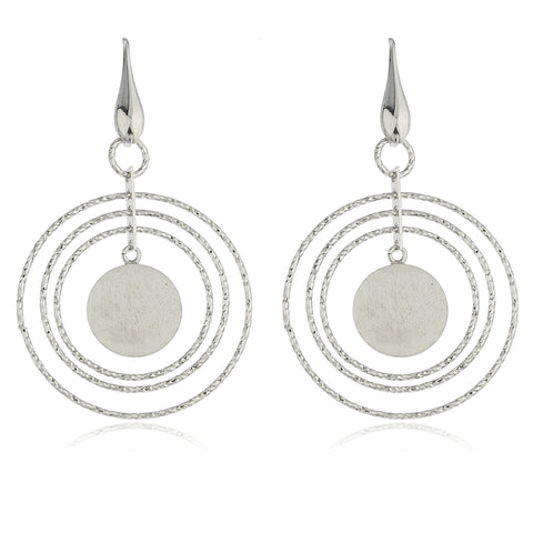 Real 925 Sterling Silver Fancy Layered Circular Dangle Earrings