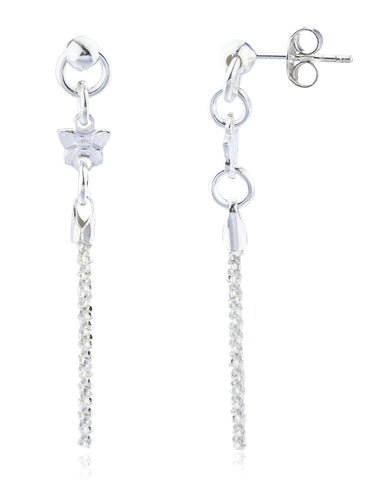 Real 925 Sterling Silver Fancy Mini Butterfly And Tassel Drop Earrings