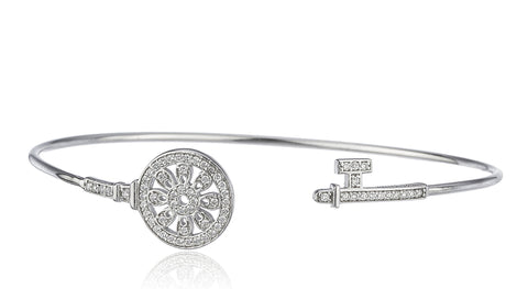 Real 925 Sterling Silver Floral Key Cuff Bangle Bracelet With Cz Stones (Silvertone)