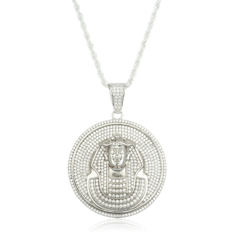 Real 925 Sterling Silver Fully Iced Out Cubic Zirconia Circular Pharoh Pendant With A 30 Inch Brass 3mm Rope Necklace