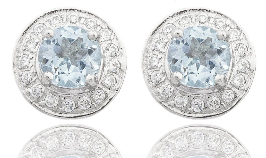 Real 925 Sterling Silver Genuine Round Blue Topaz December Birthstone With Cz Earrings