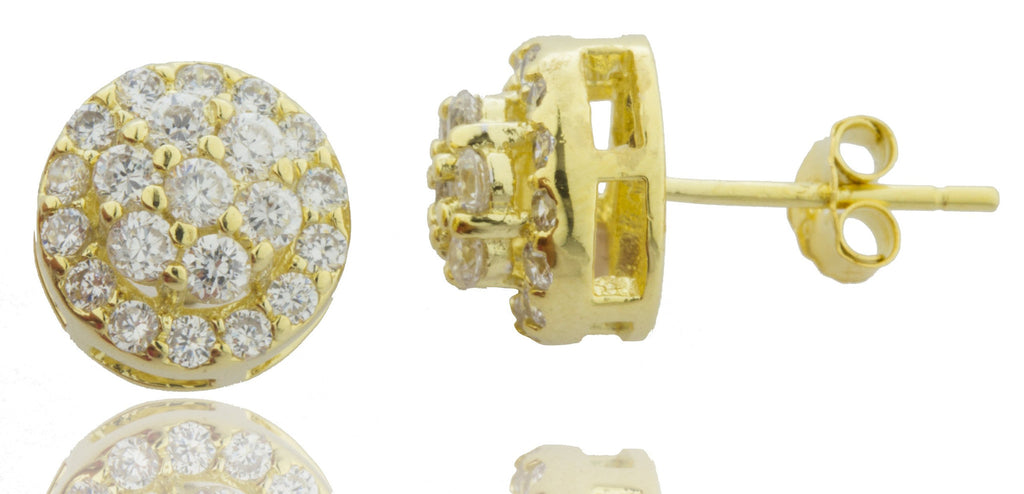 Real 925 Sterling Silver Gold 3D Cluster 9mm Stud Earrings With Cubic Zirconia Stones