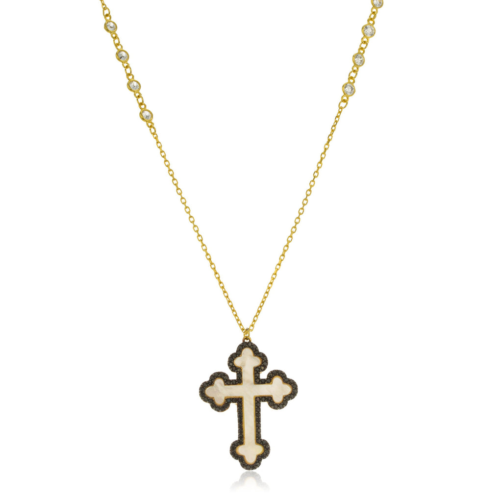 Real 925 Sterling Silver Gold And Black CZ Cross Pendant With An 28 Inch Link Chain Necklace With Clear Stones