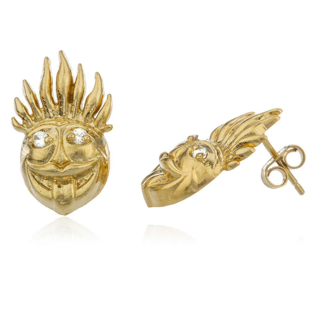 Real 925 Sterling Silver Gold Colored Voodoo Face Cz Stones Stud Earrings