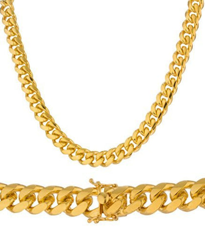 Real 925 Sterling Silver Gold Plated 12mm 32 Inch Miami Cuban Chain 300 Gram Necklace