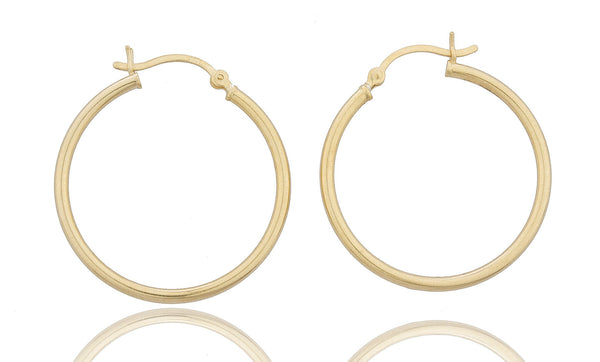 Real 925 Sterling Silver Goldtone 1.25 Inch (30mm) Hoop Earrings