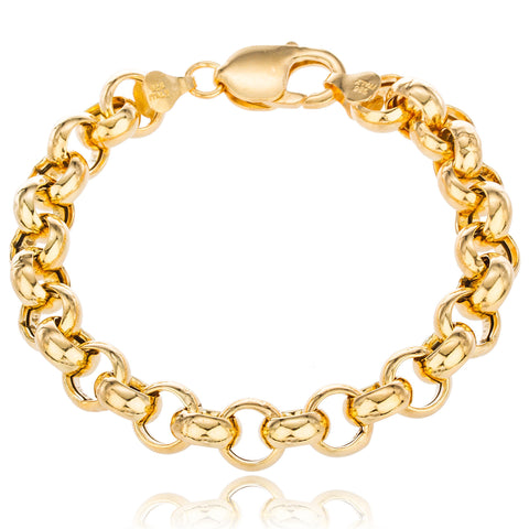 Real 925 Sterling Silver Goldtone 10mm 7.5 Inch Rolo Chain Style Bracelet