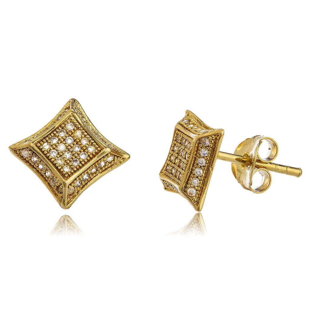 Real 925 Sterling Silver Goldtone 10mm Stud Earrings With Cz Stones