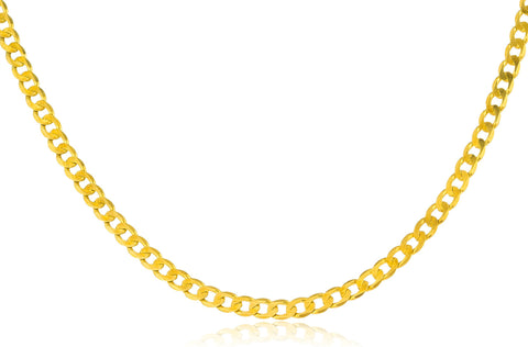 Real 925 Sterling Silver Goldtone 3mm 24 Inch Cuban Chain Necklace