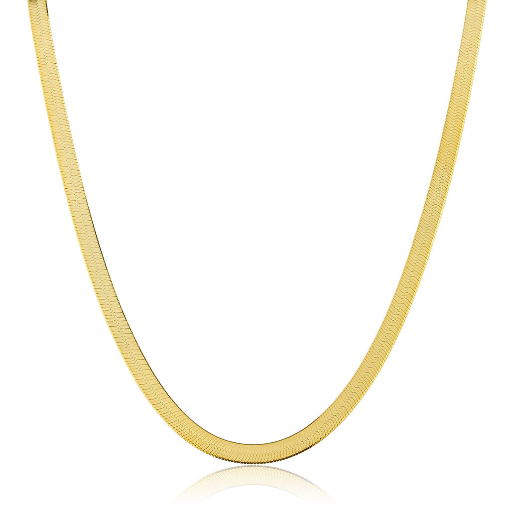 Real 925 Sterling Silver Goldtone 5mm 20 Inch Herringbone Chain Necklace