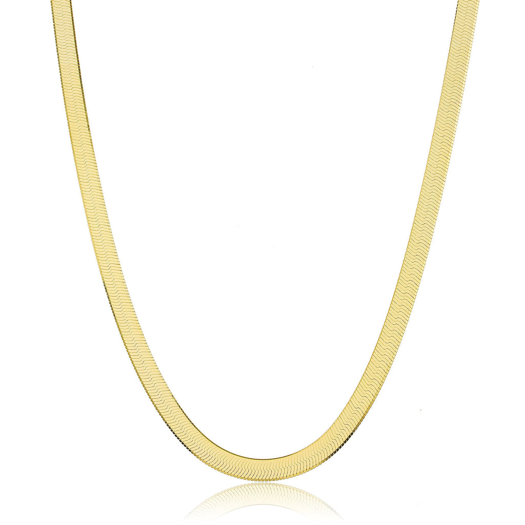 Real 925 Sterling Silver Goldtone 6mm 20 Inch Herringbone Chain Necklace